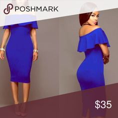 Blue OffShoulder Flounced Elegant Solid Midi 👗 If you don't see you're Size let me know! Dresses Midi