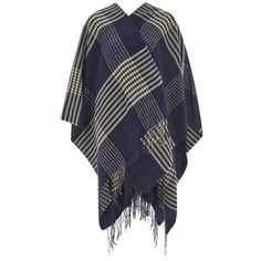 ONLY Womens Skylar Poncho - Peacoat ($13) ❤ liked on Polyvore featuring outerwear, fringed cape, blue peacoat, blue cape coat, wrap cape coat and open front poncho