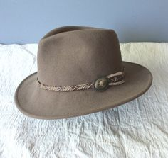 vintage western hat / braided leather band / wool by GazeboTree