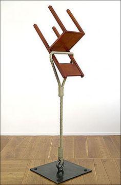 Philippe Ramette, Rupture de pesanteur, 2006. Bronze. 225 x 63 x 60 cm