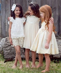 White Lace Flower Shorts - Infant, Toddler & Girls by Sweet Charlotte #zulily #zulilyfinds