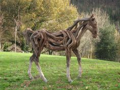 life size driftwood foal by Heather Jansch