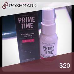 BRAND NEW BAREMINERALS PRIME TIME FACE PRIMER Brand new in box. 1 fl oz. oil control primer. Sephora Makeup Face Primer
