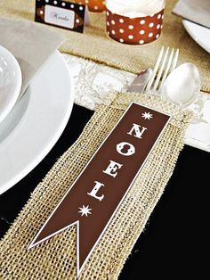Love the burlap silverware holder.  Banner could be changed out, depending on the holiday or event.