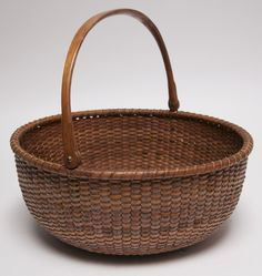 Rafael Osona Auctions Nantucket MA - Oliver C. Coffin Round Open Nantucket Basket with Swing Handle, late Century Old Baskets, Vintage Baskets, Wicker Baskets, Nantucket Baskets, Nantucket Cottage, Nantucket Beach, Bountiful Baskets, Pine Needles, Basket Bag