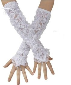 Lolita White Lace Up Gothic Dress Gloves Wedding « Dress Adds Everyday