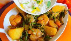 Surinaams eten – Gesmoorde Garnalen Aardappel Kousenband (gesmoorde garnalen met aardappel en kousenband op saus)