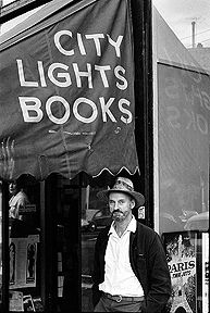 Poet Lawrence Ferlinghetti outside his legendary North Beach bookstore, San Francisco (this photo goes back a few decades)