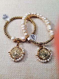 Pulseras chapa de oro con perlas www.aacesoriosglitter.com