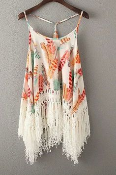 Coral and Mint Green Feather Pint Tassels Spliced Spaghetti Straps Bohemian Style Tank Top Boho Fashion, Fashion Outfits, Womens Fashion, Fashion Design, Fashion Trends, Beach Fashion, Top Chic, Bohemian Schick, Look Boho