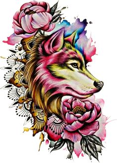 Watercolor Wolf Tattoo Designs { - Free Cliparts on ClipartWiki Wolf Tattoos, Fake Tattoos, Body Art Tattoos, Tatoos, Wolf Tattoo Back, Aquarell Wolf Tattoo, Watercolor Wolf Tattoo, Wolf Tattoo Design, Wolf Design