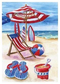 beach umbrella chair  flip flops náutica marina playa.-.-. www.gardenflags.net