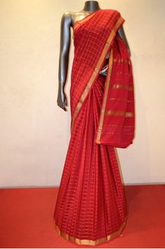7f437ca6a Pinkish Red Mysore Crepe Pure Silk Saree With a Beautiful Contrast Zari  Border Product Code