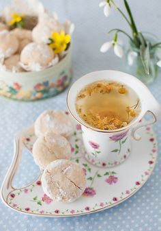 Tea Party ~ Orange-Coconut Cream Cheese Cookies by Yelena Strokin ~ a wonderful recipe to serve with tea chamomile tea & cookies, i love these china snack plates! There are many types of teas that have incredible benefits to our mind & body. So drop the s Café Chocolate, Pause Café, Cream Cheese Cookies, Cheese Biscuits, Cuppa Tea, My Cup Of Tea, Snacks, Coconut Cream, Tea Recipes