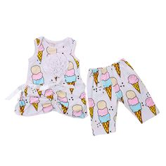 2016 Baby Girl Outfit Ice Cream Baby Girl Clothes 2 Piece Set Toddler Girl Clothing White Ruffle Flower