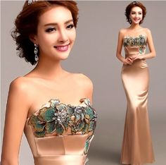 Embroidery mermaid gold Evening Dress 2014 Luxurious brand Bride tube star party dresses 1906 Free ship