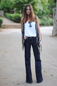 love the wide leg denim and Alexander McQueen scarf