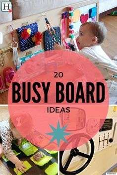 Busy Board: DIY ideas to keep your busy toddler busy . Baby Diy - Busy Board: DIY ideas to keep your busy toddler busy - Infant Activities, Activities For Kids, 8 Month Old Baby Activities, Diy Busy Board, Baby Lernen, Toddler Play, Toddler Busy Board, Busy Boards For Toddlers, Busy Board Baby