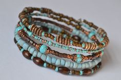 Turquoise and Brown Memory Wire Bracelet, Boho Wrap Bracelet