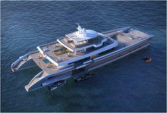 SUPER IATE DE LUXO - MANIFESTO Manifesto é um super iate de luxo, um catamaran de 234 pés (71m) , projetado pelos arquitetos navais baseados em francês e designers do projeto VPLP.