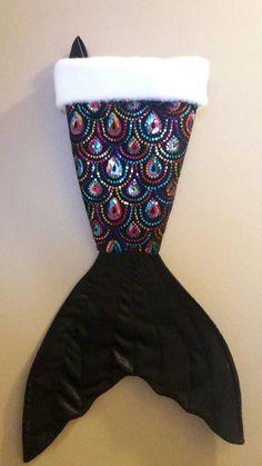 Mermaid tail Christmas stocking. multi colored by mermaidbythebay