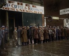 Unemployed men outside Al Capone's soup kitchen in Chicago during the Great Depression, 1931 - Imgur