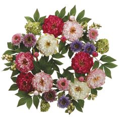 This 24 inch Peony and Hydrangea Garden Wreath  adds pops of color to any wall or door with a fresh looking display of lifelike hydrangeas and peonies.
