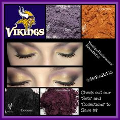 """Calling all Vikings fans!! Get the """"look"""" hit up the sports bar and find out what makes guys look away from a football game Hehe. One of my favorite Pigments which wasn't used is Regal but it's the brightest purple Pigment I've ever found! You have to check out our Collections for all your Pigments and our Famous 3D Fiber Lashes (applies like mascara) not to mention in August any Collection purchased will come with a free Lash/Brow Comb! $20 Value WOOHOO! www.YouniqueProducts.com/BeYouBeFab"""