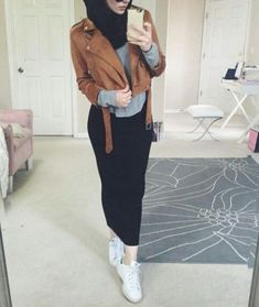 Pencil skirt with leather jacket-Hijabi street style bloggers – Just Trendy Girls