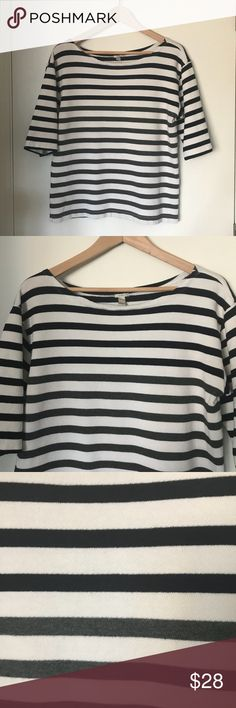 J. Crew Stripped Nautical Sweatshirt Top Fun stripped nautical sweatshirt in excellent used condition. Stripes are dark navy and dark gray. See closeup photo. Add this jcrew top to your closet! J. Crew Tops Sweatshirts & Hoodies