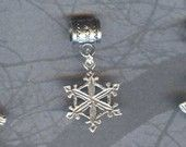 Sterling Silver Snowflake Lrg Hole Bead Fits All European, Chamilia, Troll, Add a Bead Charm Bracelet Jewelry