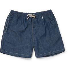 5991a04656e10 Loro Piana - Mid-Length Cotton-Chambray Swim Shorts