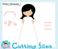 cutting file, silhouette cameo, archivo de corte, digital die cut, kit comunion niña, cut file