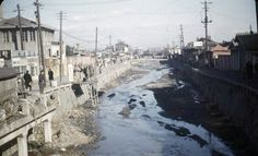Cheonggyecheon before being tunneled underground. 1949 Seoul, photo lightened from original at link, for visibility.