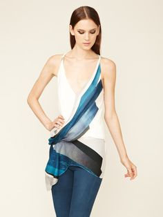 Helmut Lang Kohl Draped Silk Chiffon Top    Love the cute and colors!