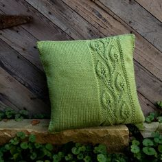 Trellising Leaves  14x14 Hand Knit Pillow  Made by TheCreativeGene, $48.00.  I think I could figure out how to make this just from the picture.