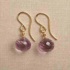 amethyst earrings light purple earrings gold gemstone by izuly, $39.00