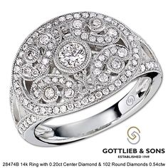 Vintage Inspired work of Diamond Art! Intricate details surround the 103 round diamonds, while open space adds to the vintage feel. Feel the Quality at a Gottlieb & Sons Jeweler Today!