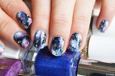 galaxy, nails, and girly image