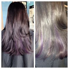 Purple peekaboo highlight.  Www.facebook.com/nadwahairspa Purple Peekaboo Highlights, Hair Color And Cut, Hair Ideas, Hair Makeup, Hair Beauty, Make Up, Long Hair Styles, Facebook, Women
