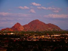 Here is a  photo of Camelback Mountain.    You can see why the mountain gets its name.    Can you see the Camelback hump and camel's head?  Phoenix, AZ