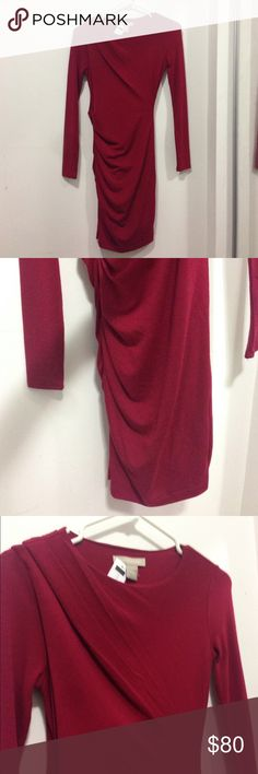 Burgundy Banana Republic Long Sleeve Dress  This dress is stretchy so if you wear a XS at Banana Republic it will fit! Beautiful dress that you can jazz up with bangles or a necklace and sexy heels! This dress has never been worn and is in great condition! Banana Republic Dresses Long Sleeve