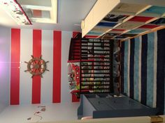 Nautical nursery -- wonder if I did red & white stripe accent wall & the rest navy blue ??
