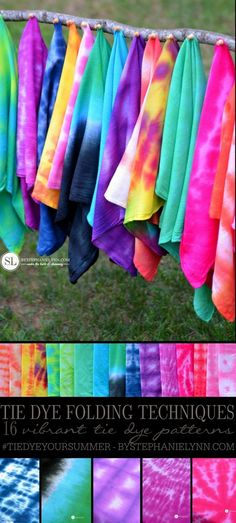 DIY 16 Tie Dye Patterns Tutorial from By Stephanie Lynn.Excellent post about creating 16 tie dye patterns by creasing and folding, crumbling, scrunching, and twisting fabric. Also, there is advice about choosing the right colors using a color wheel. How To Tie Dye, Tie And Dye, How To Dye Fabric, Dyeing Fabric, Tie Dye Tips, Tie Dye Crafts, Crafts To Do, Arts And Crafts, Jar Crafts