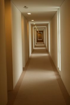 Hotel corridor with natural lighting..