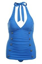 Blue With Buttons Halter One-Piece Swimsuit SKU: 575112