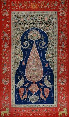 Persian silk wall hanging.  ca 1840.