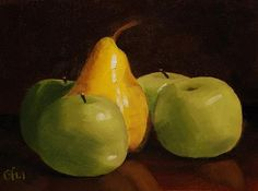 """Daily+Paintworks+-+""""Pear+and+Apples""""+-+Original+Fine+Art+for+Sale+-+©+Gary+Westlake"""