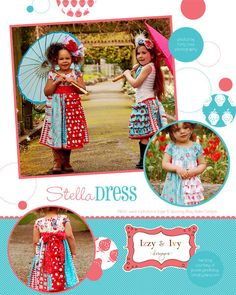 Stella Dress skirt and dress sewing pattern from Izzy and Ivy Designs- Reduced USA SHIPPING. $12.50, via Etsy.
