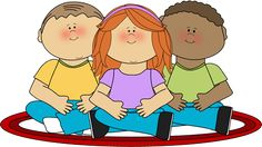sitting on rug Clip Art | Kids Sitting on School Rug Clip Art Image - happy school kids sitting ...